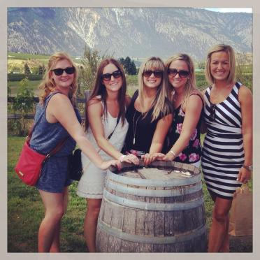 My girlfriends and I wine tasting at my Bachelorette party